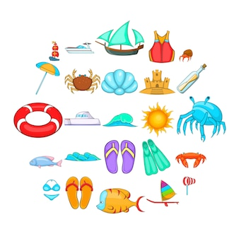 Rest on the ship icons set. cartoon set of 25 rest on the ship icons