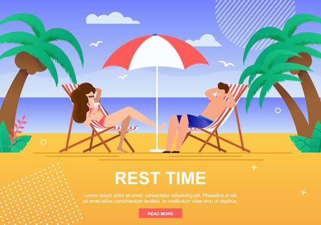 Rest time for couples advertising banner template and  man  and woman in love