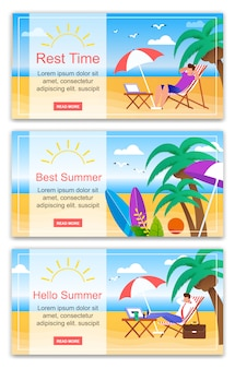 Rest time hello best summer banner set