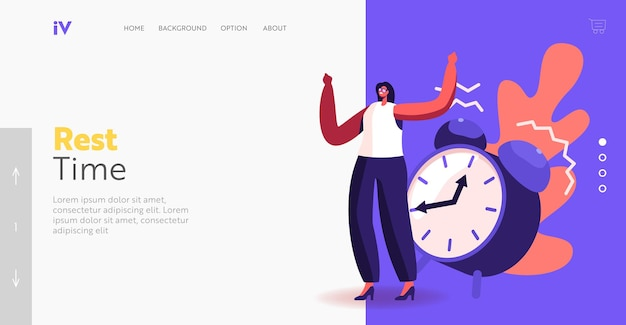 Rest time landing page template. tiny businesswoman character ignore huge alarm clock ring. time management, procrastination, low productivity in business working process. cartoon vector illustration