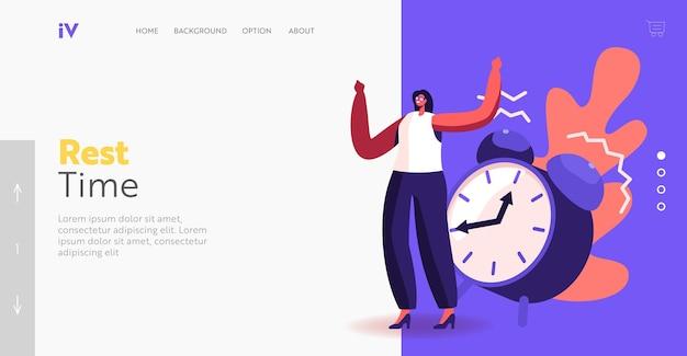 휴식 시간 방문 페이지 템플릿. 작은 사업가 캐릭터는 거대한 알람 시계 반지를 무시합니다. 시간 관리, 지연, 비즈니스 작업 프로세스의 낮은 생산성. 만화 벡터 일러스트 레이 션