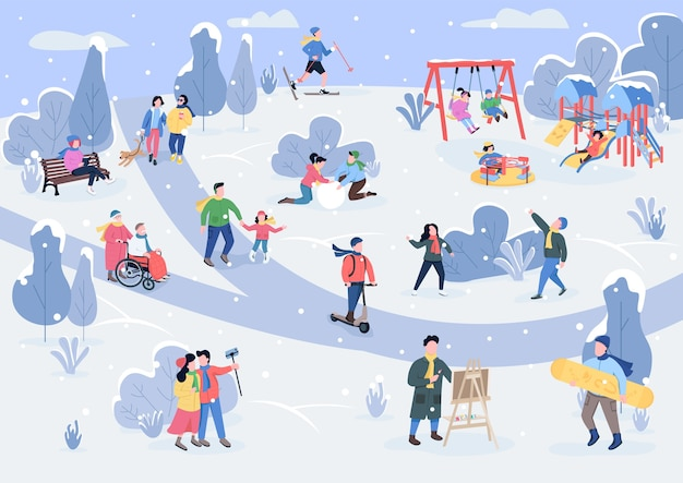 Rest in winter park flat color . children playing with snow. enjoyment. outdoor recreation area with visitors in winter 2d cartoon characters with snowy trees on background