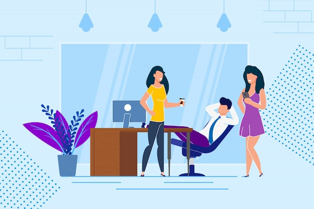 Rest at work with coffee vector illustration.