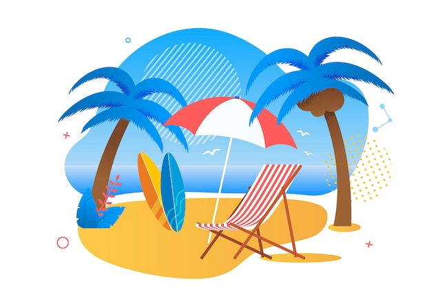 Rest zone on tropical beach for tourists cartoon