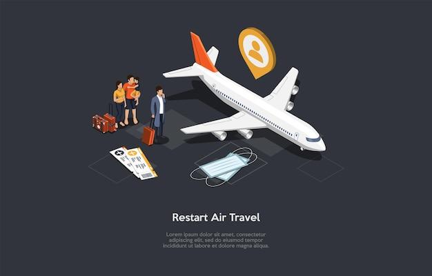 空の旅のコンセプトデザインを再開します。漫画の3dスタイル、テキストと等角投影ベクトル図。観光と航海、飛行機、手荷物を持つ人々のグループ、インフォグラフィックオブジェクト。コロナウイルスのアイデア。