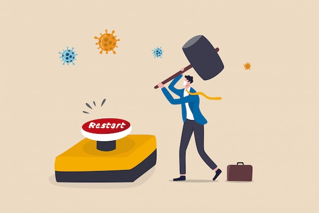 Restart business after coronavirus covid-19 lockdown, reopen company employee return to normal operation concept, businessman leader wearing face mask use huge hammer to hit emergency restart button.