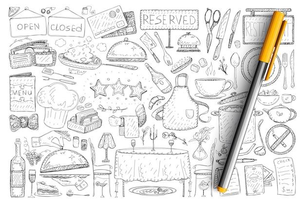 レストランやカフェの要素の落書きセット。孤立したレストランで手描きの男性、テーブル、看板、ボトル、提供される食品のコレクション。