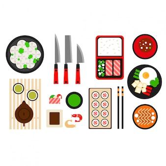 レストランアジア料理フラットアイコン