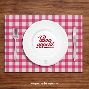Restaurant background with dish and cutlery