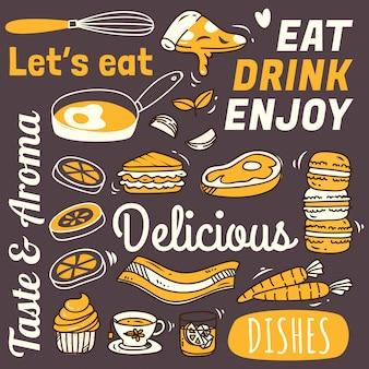 낙서 스타일의 다양 한 음식과 레스토랑 배경입니다.