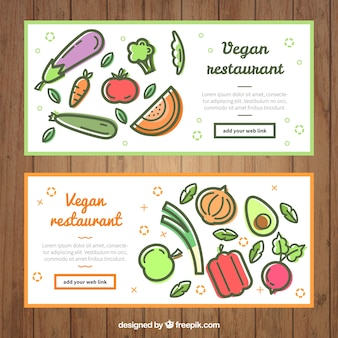 Restaurant banners with vegetables