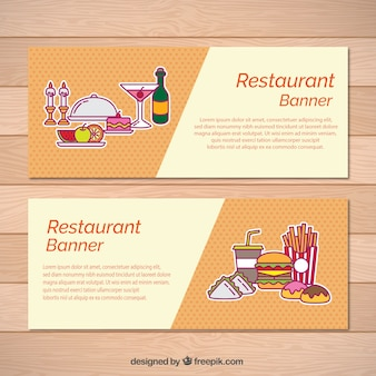 Restaurant bannners with food drawings