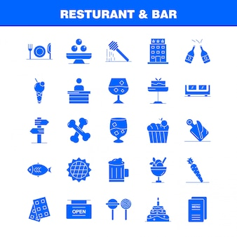 Restaurant and bar solid glyph icon