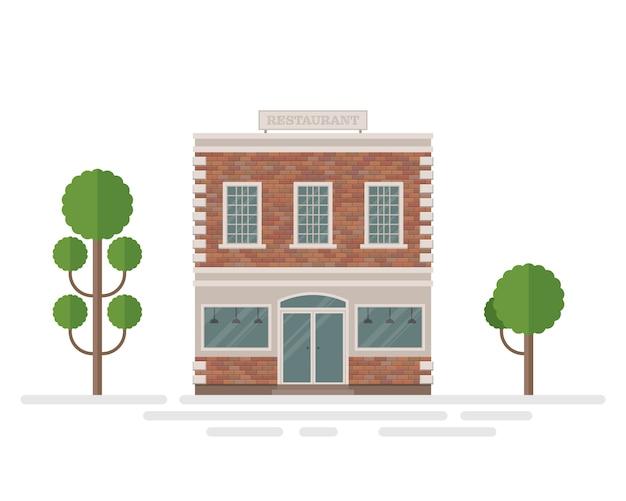 Restaurant brick building illustration