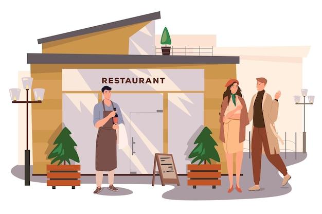 레스토랑 건물 웹 개념입니다. 카페에서 저녁 식사에가는 커플, 웨이터는 와인 한 병을 들고있다. 날짜에 남자와 여자