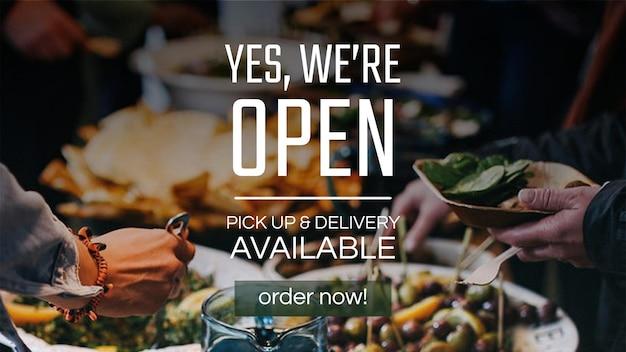 """""""はい、'オープン""""のレストランビジネスバナーテンプレートベクトル"""