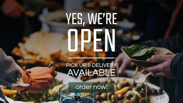 """Vettore del modello dell'insegna di affari del ristorante con """"sì, siamo aperti"""""""