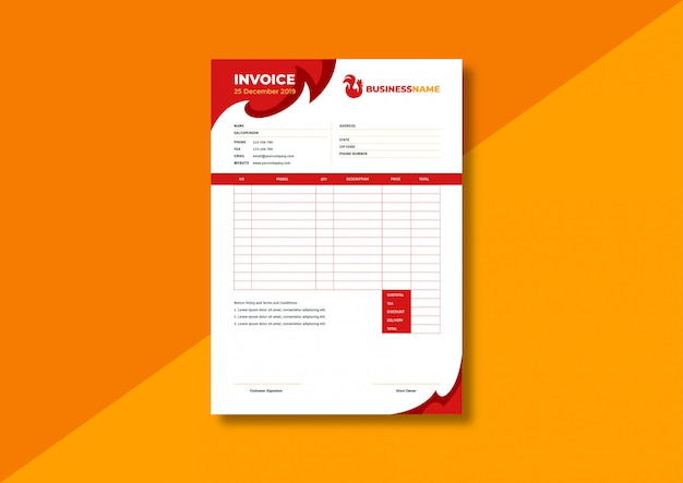 Restaurant business invoice template
