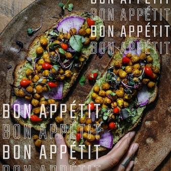 「bonappétit」を使用したソーシャルメディアのレストランビジネステンプレートベクトル