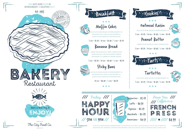 Restaurant cafe bakery menu template