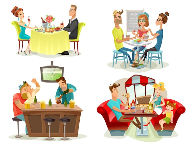 Restaurant cafe bar people 4 icons