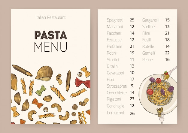 Restaurant or cafe dining menu template with plate