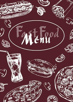 Меню ресторана кафе быстрого питания, дизайн шаблона. флаер о еде. вектор шаблона.