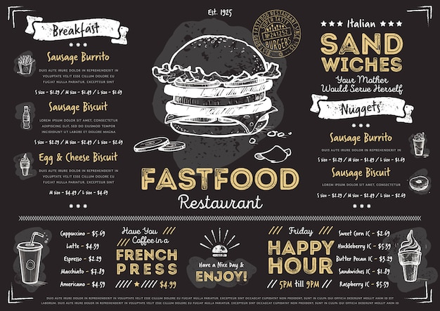 Restaurant cafe fast food menu template