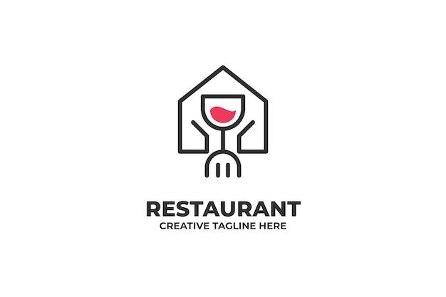 Ресторан кафе еда монолайн логотип