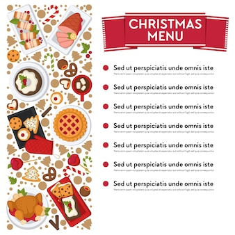 Restaurant or cafe menu with dishes on xmas