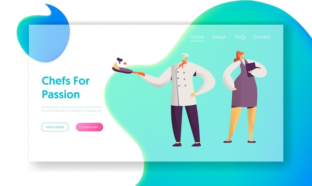 Restaurant cafe staff. male and female characters in uniform. administrator girl with notebook, chief in toque with frying pan. website landing page, web page. cartoon flat vector illustration