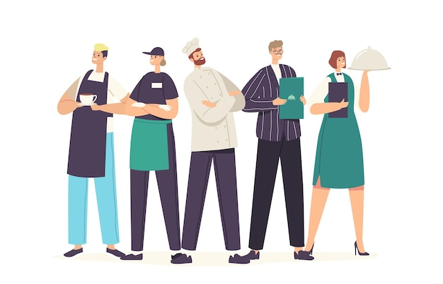 유니폼 시연 메뉴의 레스토랑 캐릭터 팀. 카페, 피자 가게, 베이커리 가게 또는 카페테리아, 환대, 남성 및 여성 웨이터, 요리사, 관리자의 직원. 만화 사람들 벡터 일러스트 레이 션