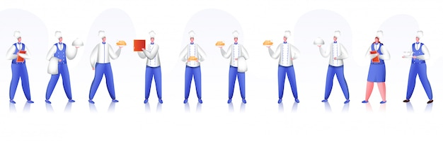 Шеф-повар ресторана и набор символов персонала.