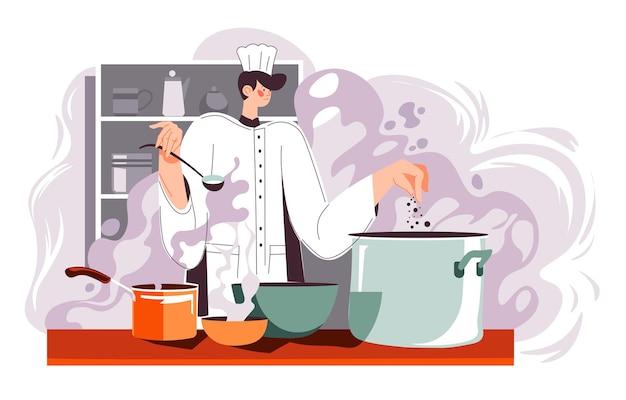 고객과 고객을 위해 음식을 요리하는 레스토랑 요리사. 식당 또는 비스트로 주방, 주방용품을 사용하여 식사를 준비하는 남자. 요리 준비, 냄비에서 뜨거운 수프 시음. 평면 스타일의 벡터