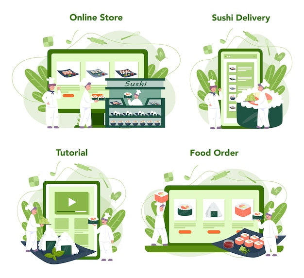レストランのシェフのクッキングロールと寿司のオンラインサービスまたはプラットフォームセット
