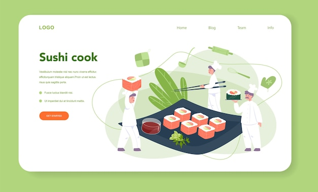 レストランのシェフのクッキングロールと寿司のウェブバナーまたはランディングページ