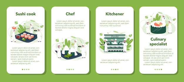 Restaurant chef cooking rolls and sushi mobile application banner set