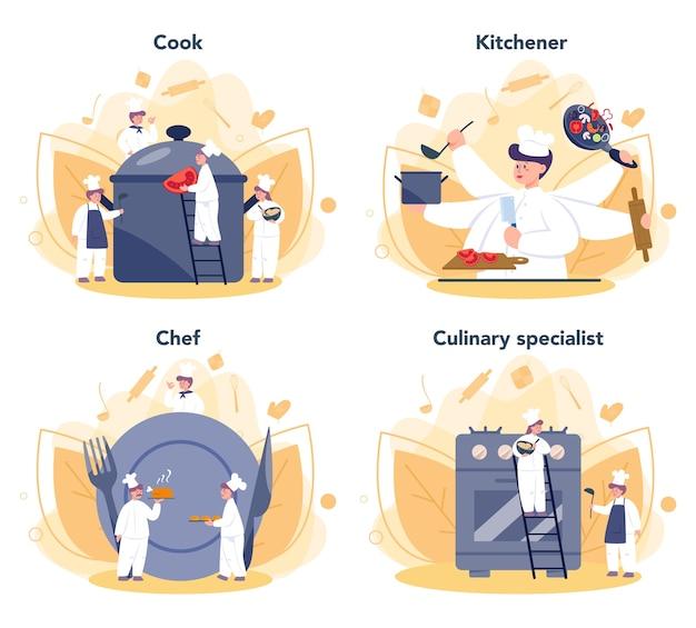 レストランのシェフ料理セット。おいしい料理を作るエプロンの人々のコレクション。キッチンのプロの労働者。食品メーカー。漫画スタイルの孤立したベクトルイラスト