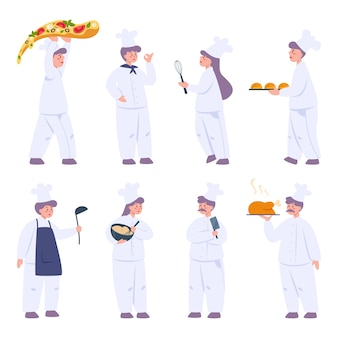 Restaurant chef cooking set. collection of people in apron with tasty dish or cooking tool. professional worker on the kitchen.