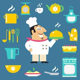 Restaurant chef and kitchen items