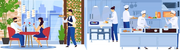 Restaurant chef team cooking in kitchen, waiter serves people on romantic date,  illustration
