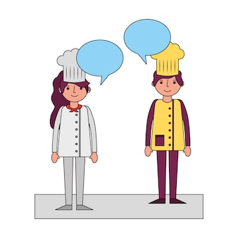 Restaurant chefs couple with speech bubbles
