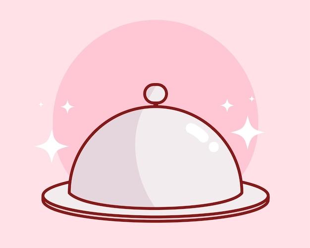 食器料理レストランバナーロゴ漫画アートイラストを提供するレストランクローシュフードトレイプラッタープレート