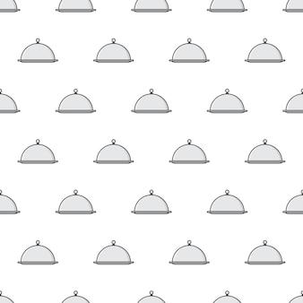 レストランクロッシュシームレスパターン。シルバークロッシュテーマイラスト