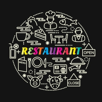 Restaurant colorful gradient with line icons set