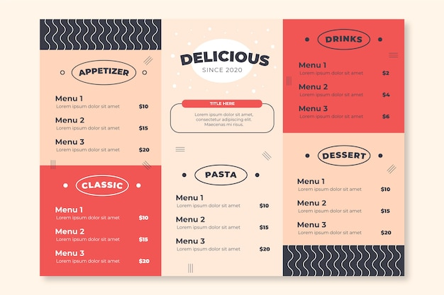 Restaurant colorful menu template