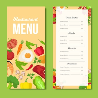 Restaurant colorful menu template
