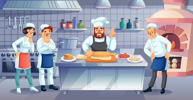 레스토랑 요리 마스터 클래스, 요리 미술 수업, 교육 과정. 이탈리아 피자 반죽 롤 반죽을 보여주는 젊은 학생, 견습생을 가르치는 남자 요리사. 상업 요리, 요리