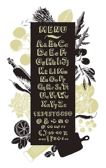 Restaurant cooking menu card hand drawing alphabet