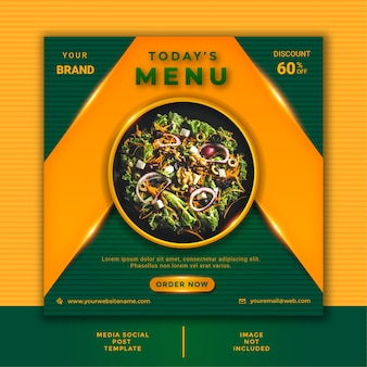 レストラン料理ソーシャルメディアの投稿テンプレート